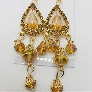 EARRINGS GOLDEN CRYSTAL!! BRILLIANT COLOR!!